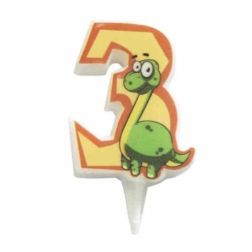Свечи цифры для торта 3 Динозавр 5 см