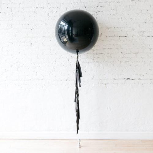 Большой шар Черный с черной гирляндой Тассел