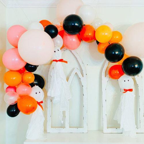 Гирлянда из воздушных шаров Персик Оранжевый Черный Белый на Хеллоуин 2 метра