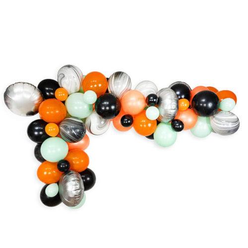 Гирлянда из воздушных шаров Серебро Оранжевый Черный Мрамор Лайм 3 метра