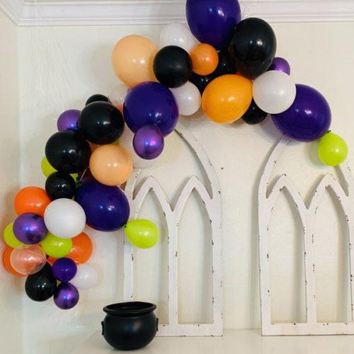 Гирлянда из воздушных шаров Фиолетовый Оранжевый Черный Белый Лайм на Хеллоуин 2 метра