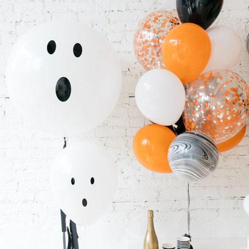 Комплект шаров Приведение с черной гирляндой Тассел 2 штуки и фонтан из шаров