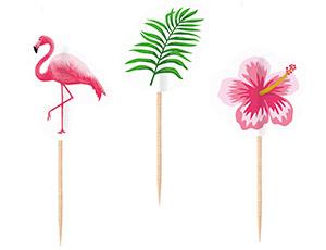 Пика для канапе Фламинго розовый дерево 7,6 см 20 штук