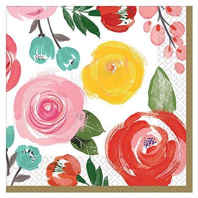 Салфетка 25 см Цветочный Вальс 16 штук
