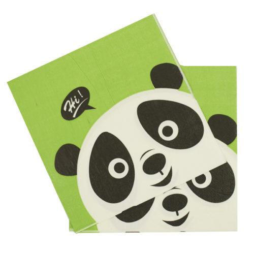 Салфетки 33 см х 33 см Панда С Праздником 12 штук