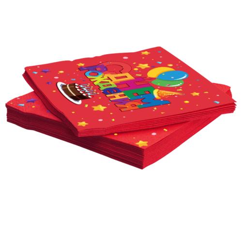 Салфетки 33 х 33 см С Днем Рождения Торт и шарики Красный 20 штук
