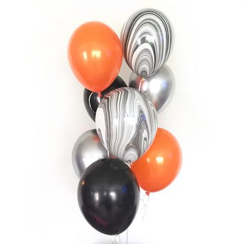 Связка из 7 воздушных шаров на Хеллоуин Ассорти Мрамор