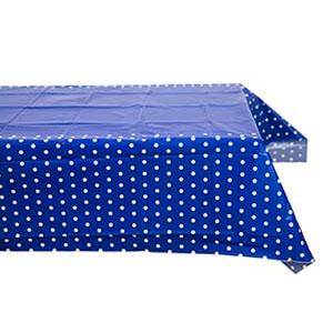 Скатерть п-э Горошек синяя 130 х 180 см