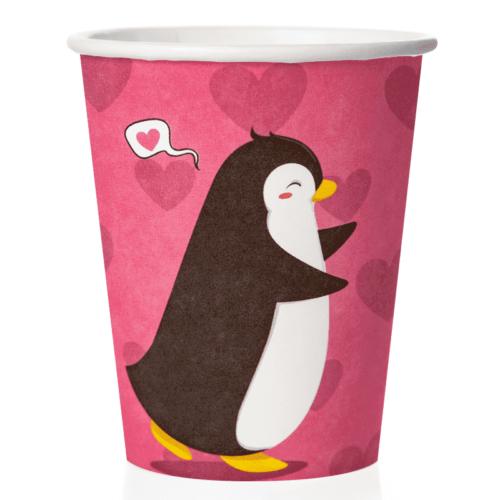 Стаканы 250 мл Влюбленные пингвины Розовый 6 штук
