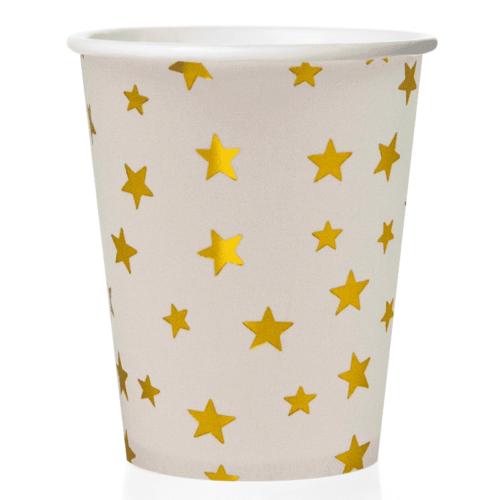 Стаканы 250 мл Золотые звезды Белый 6 штук
