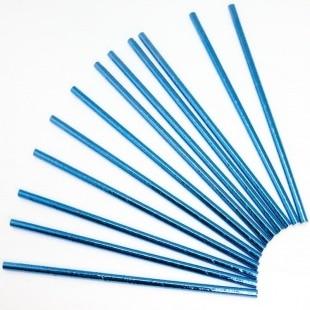Трубочки для коктейлей Синий металлик 12 штук