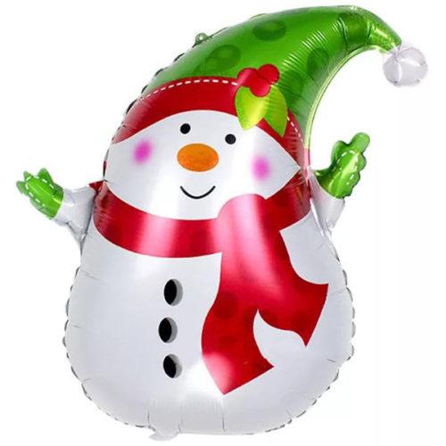 Шар 74 см Фигура Снеговик в зеленом колпачке