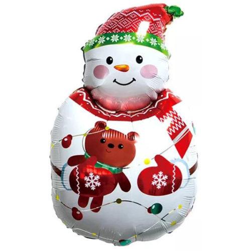 Шар 86 см Фигура Снеговик с плюшевым мишкой