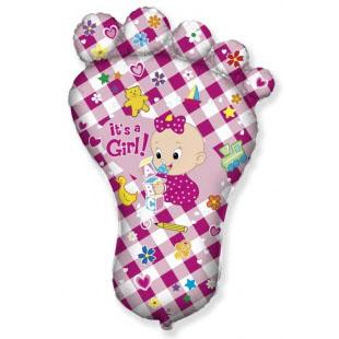 Шар 97 см Фигура Ножка малышки Розовый