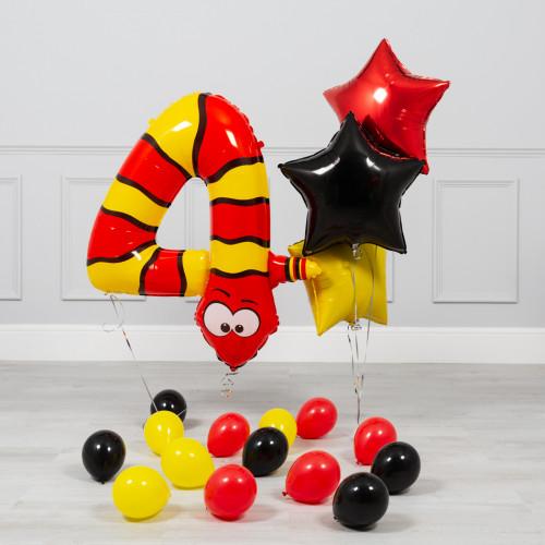 Комплект из шаров на ДР Цифра 4 Змея