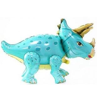 Шар 91 см Ходячая Фигура Динозавр Трицератопс Бирюзовый