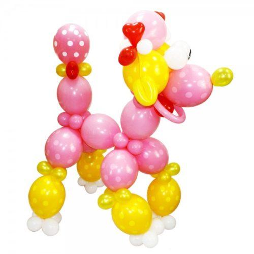 Пудель розово-желтый из воздушных шаров