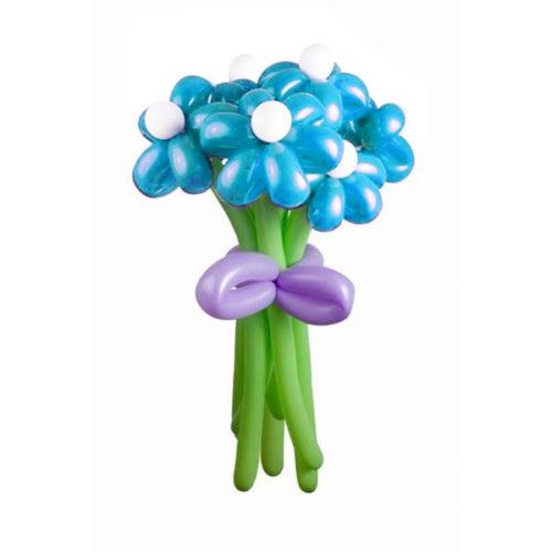 Букет из 5 голубых ромашек из воздушных шаров