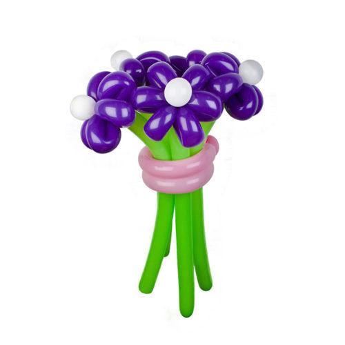 Букет из 5 фиолетовых ромашек из воздушных шаров