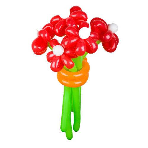 Букет из 5 красных ромашек из воздушных шаров