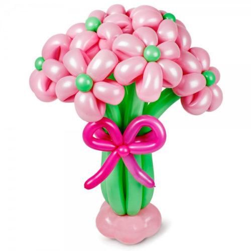 Букет из 7 розовых цветов с бантом на основании