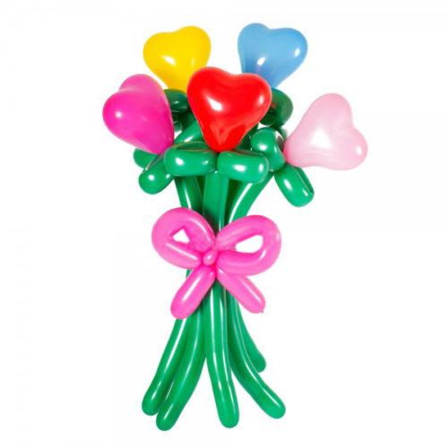 Букет из 5 разноцветных сердец светящийса