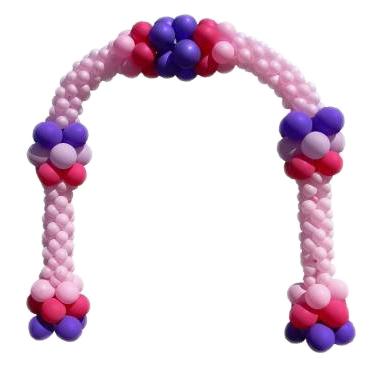 Розовая арка с фиолетовыми вставками из воздушных шаров