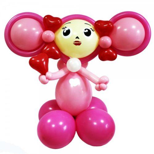 Розовая Чебурашка-девочка из воздушных шаров