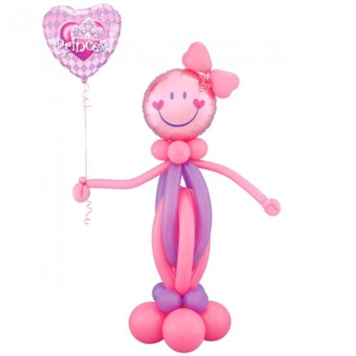 Девочка-смайл с шариком-сердцем из воздушных шаров