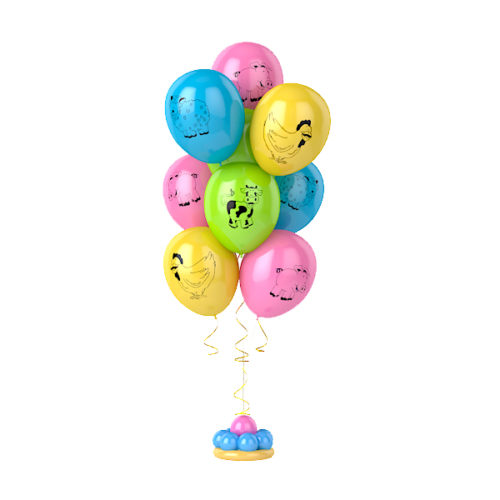 Фонтан из 9 разноцветных воздушных шаров с рисунком животных