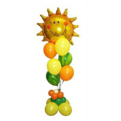 Фонтан с солнышком из воздушных шаров