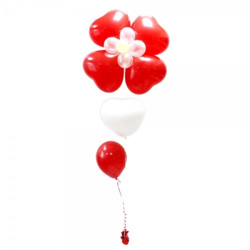 Фонтан с красным цветком и 2 шариками из воздушных шаров