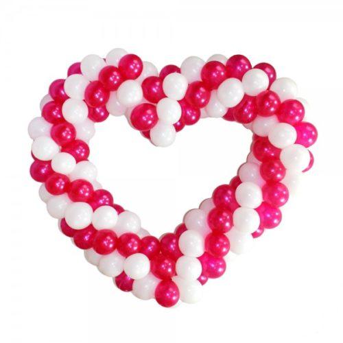 Бело-розовое сердце витое из воздушных шаров