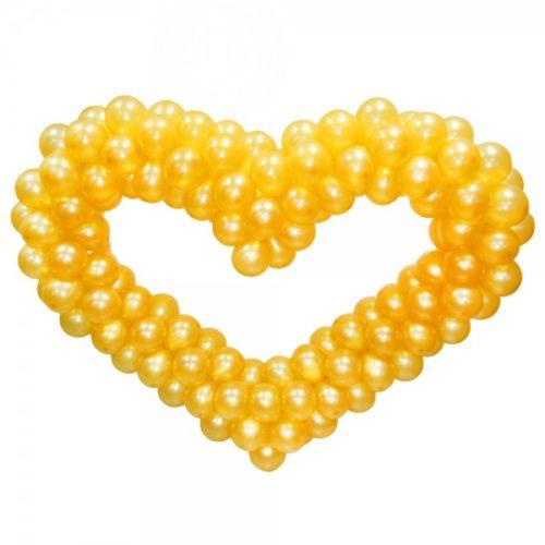 Золотое сердце из воздушных шаров