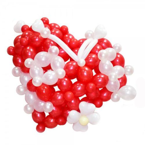Сердце красно-белое из воздушных шаров