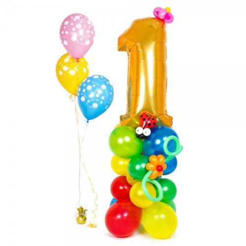 """Цифра """"1"""" из воздушных шаров с божьей коровкой"""