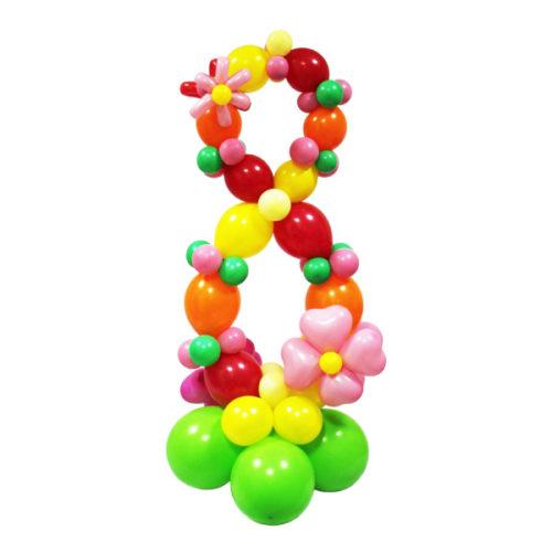 """Цифра """"8"""" из разноцветных воздушных шаров"""