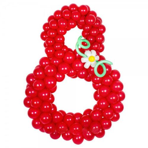 """Цифра """"8"""" красная с цветком из воздушных шаров"""