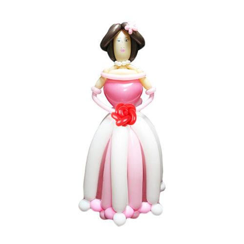 Принцесса в розовом платье с розой из воздушных шаров