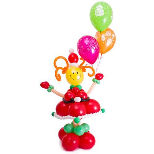 Снегурочка с шариками и звездами из воздушных шаров