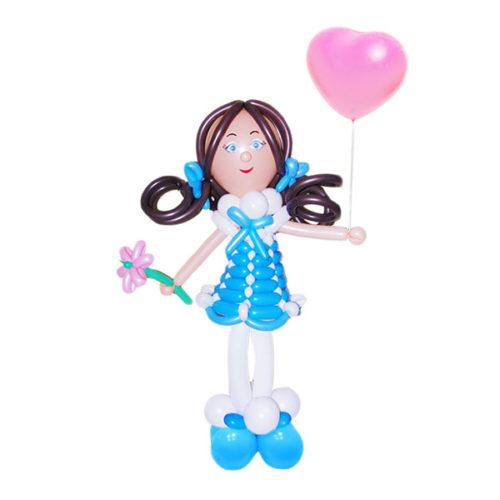 Принцесса в голубом платье с ромашкой из воздушных шаров
