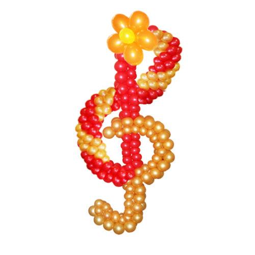 Скрипичный ключ красно-золотой из воздушных шаров