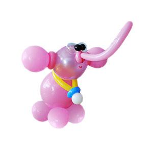 Розовый слон из воздушных шаров