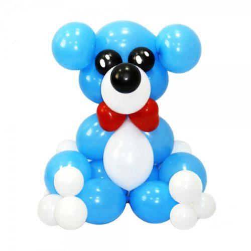 Мишка мальчик из голубых и белых воздушных шаров