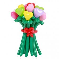 Букет из 15 разноцветных сердец из воздушных шаров