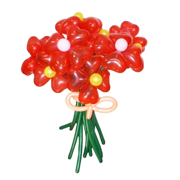 Букет из 9 красных ромашек с кремовым бантом из воздушных шаров