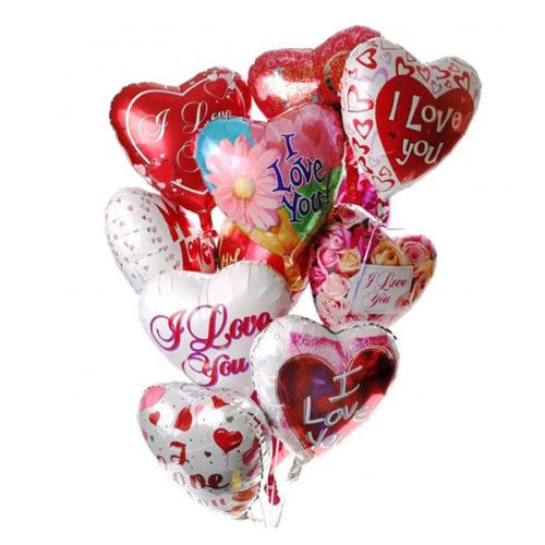 Набор из 11 разноцветных сердец из фольги - воздушных шаров одного размера