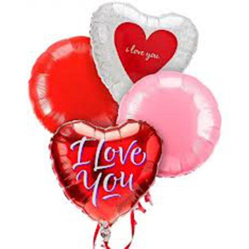 Набор из 2 разноцветных круглых шаров и 2 сердец из фольги