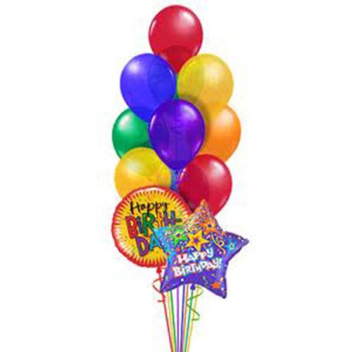Набор из 2 шаров из фольги - круг и звезда и 9 латексных воздушных шаров одного размера