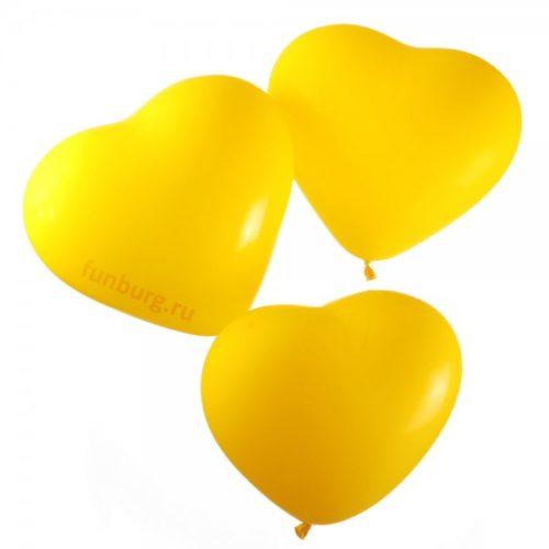 Набор из 3 желтых воздушных шаров сердец одного размера